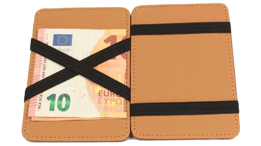 Magic Wallet - die magische Geldbörse geoeffnet mit eingespanntem Geldschein