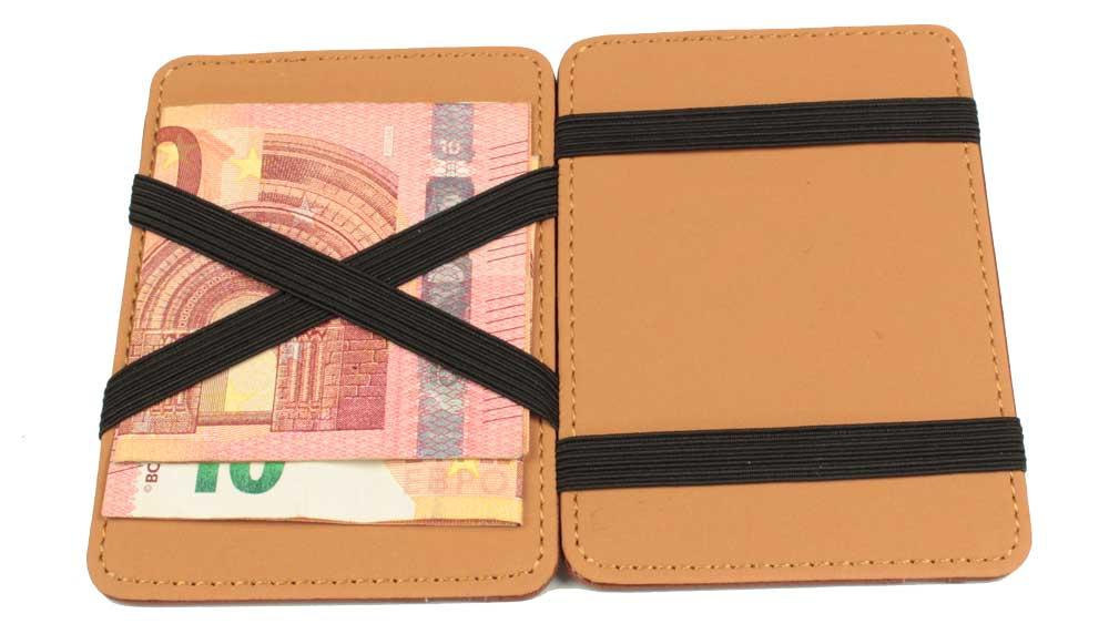 Magic Wallet - die magische Geldbörse geoeffnet mit zwei eingespannten Geldscheinen auf einer Seite