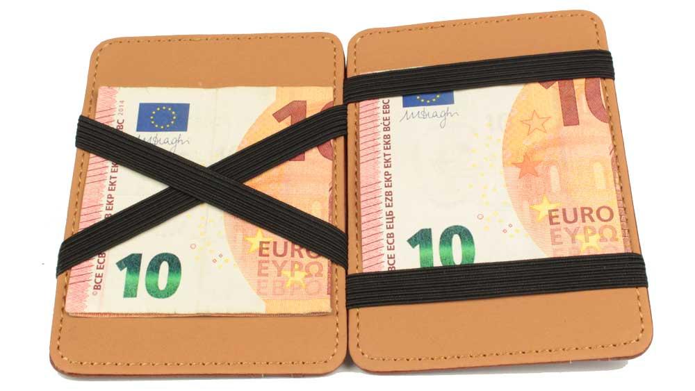 Magic Wallet - die magische Geldbörse geoeffnet mit zwei eingespannten Geldscheinen auf beiden Seiten